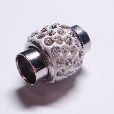 画像1: ラインストーン飾り付きマグネット(7mmホール) ホワイト