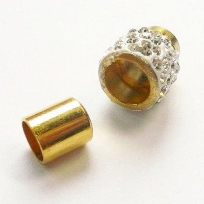 画像2: ラインストーン飾り付きマグネット(7mmホール) ホワイトxゴールド