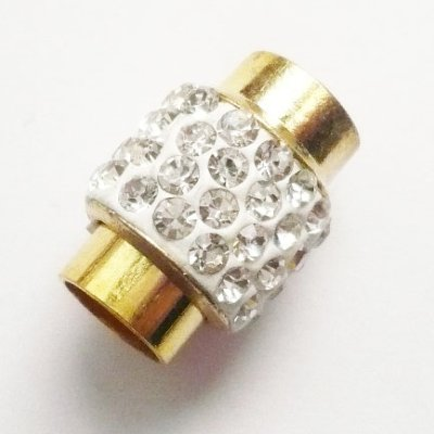 画像1: ラインストーン飾り付きマグネット(7mmホール) ホワイトxゴールド