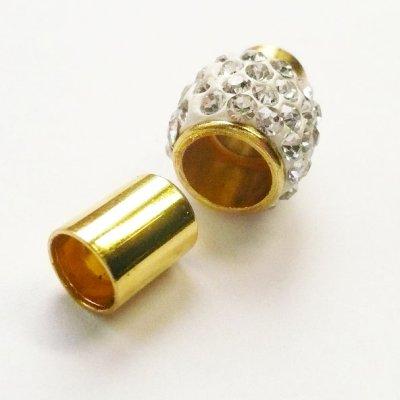 画像2: ラインストーン飾り付きマグネット(6mmホール) ホワイトxゴールド