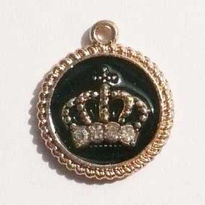 画像1: 王冠チャームB ブラック