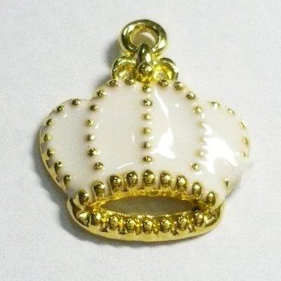 画像1: 王冠チャームA ホワイト