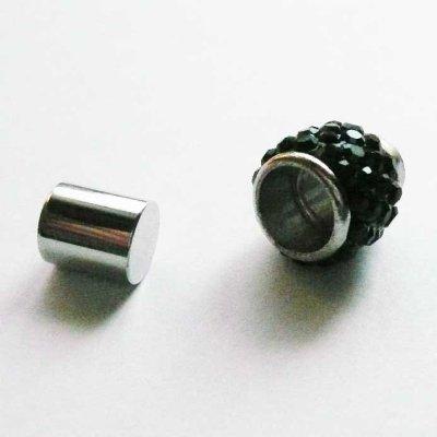 画像2: ラインストーン飾り付きマグネット(7mmホール) ブラック