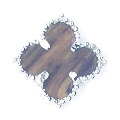 画像1: クローバー型パーツ(L) タイガーアイxロジウムカラー