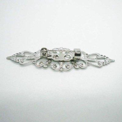 画像2: ブローチピン付 ロング透かし型座金 ロジウムカラー