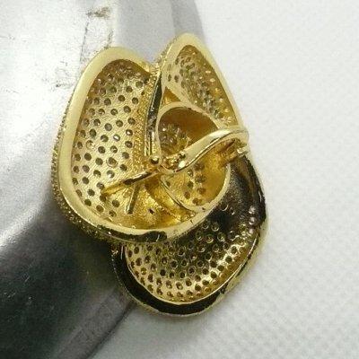 画像3: ローズ型ラインストーンクリッカー(L) ゴールド